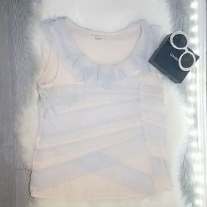 Tops - Rare Find Blue Ruffled Lace Tank Top Size Large